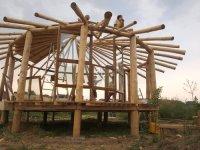 wooden construktion of strawbalebuilding